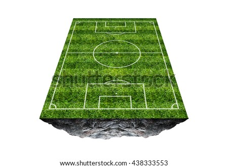 Soccer field floating island.isolated on white background