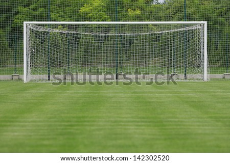 grass soccer field with goal. Beautiful Goal Soccer Field Grass Goal At The Stadium Soccer With White Lines On  With Grass Field D