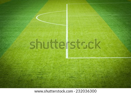 Soccer field grass,White lines - stock photo