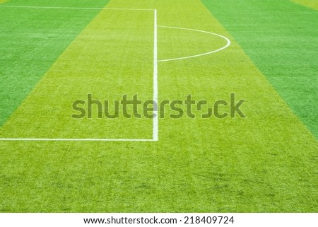 Soccer field grass,White lines,Field goal sunny - stock photo