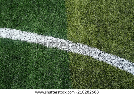 soccer field grass with curve line - stock photo