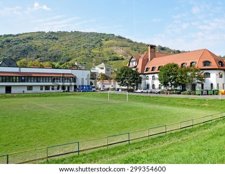 Soccer field of the elementary school - stock photo
