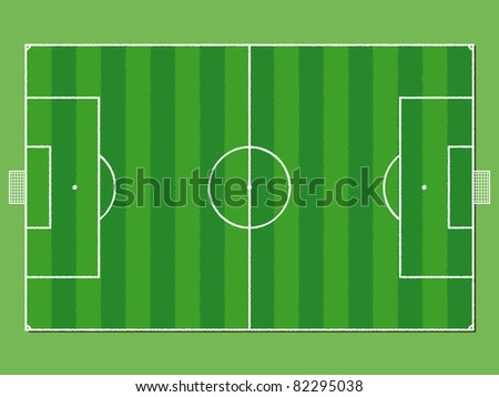 Soccer field / pitch or football field in aerial perspective - stock photo