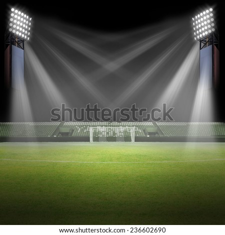 Soccer field, Soccer stadium - stock photo