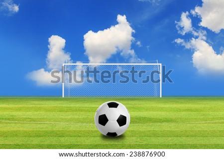Soccer field, Soccer stadium - stock photo