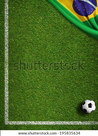 Soccer field with ball and flag of Brazil - stock photo