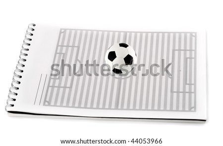 soccer field with ball in spiral note pad