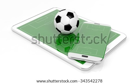 Soccer field with ball on smartphone edge and tablet display, isolated on white. - stock photo