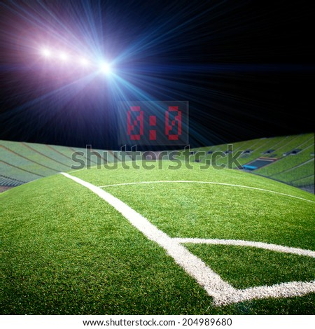 soccer field with the bright projectors