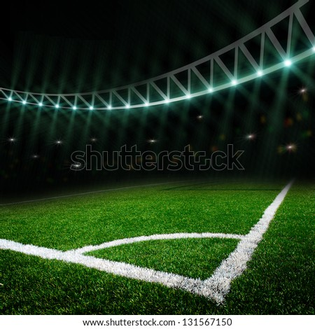 soccer field with the lights - stock photo