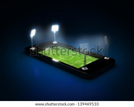 soccer field with the lights in mobile phone - stock photo