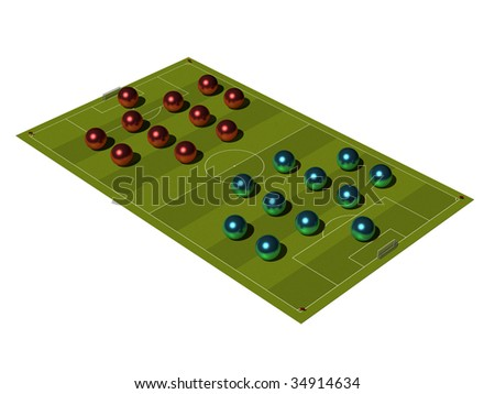 Soccer Field with the tactical scheme of arrangement of players.