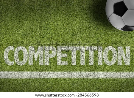 Soccer field with the text: Competition - stock photo