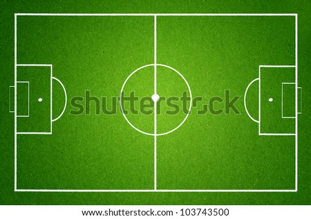 soccer field with white lines on grass, grunge paper - stock photo