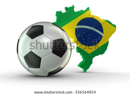Soccer football and map of Brazil. Image with clipping path
