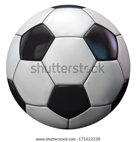 Soccer football ball isolated on white. Clipping path included. - stock photo