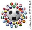 Soccer football ball surrounded by international football teams balls - stock vector