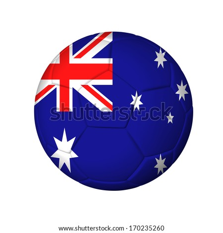 Soccer football ball with Australia flag. Isolated on white. - stock photo
