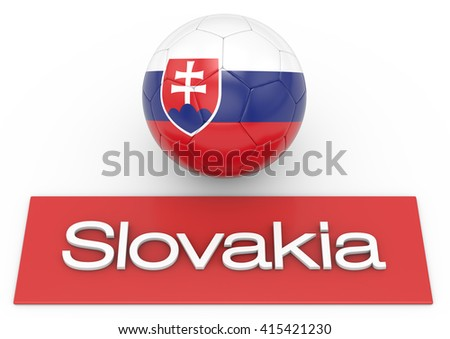 Soccer football ball with Slovakia flag, Version 3, 3D-Rendering