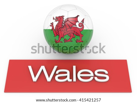 Soccer football ball with Wales flag, Version 3, 3D-Rendering