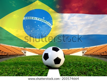 Soccer 2014 ( Football ) Brazil and Netherlands - stock photo