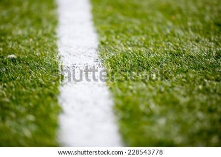 Soccer football field grass white line background texture - stock photo