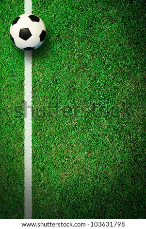 Soccer football field stadium grass line ball background texture light shadow on the grass - stock photo