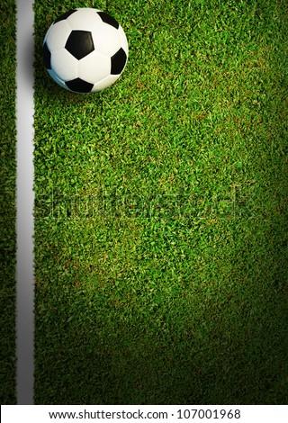 Stock Photo Soccer Football Field Stadium Grass Line Ball Background Texture Light Shadow On The Grass