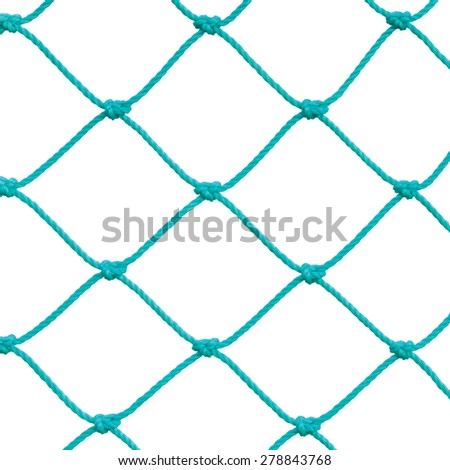 Soccer Football Goal Post Set Net Rope Detail, New Green Goalnet Netting Ropes Knots Pattern, Macro Closeup, Isolated Large Detailed Blank Empty Copy Space Background - stock photo