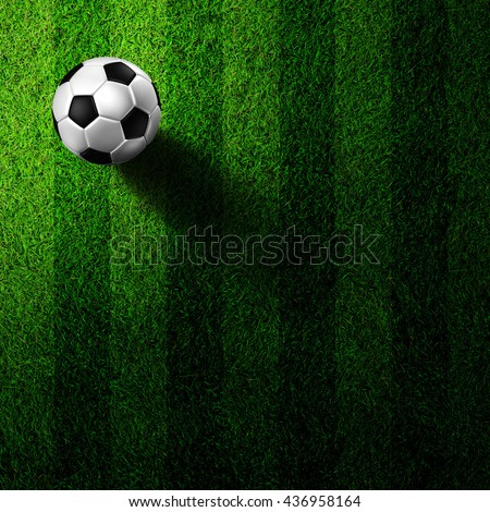 soccer football on grass field - stock photo