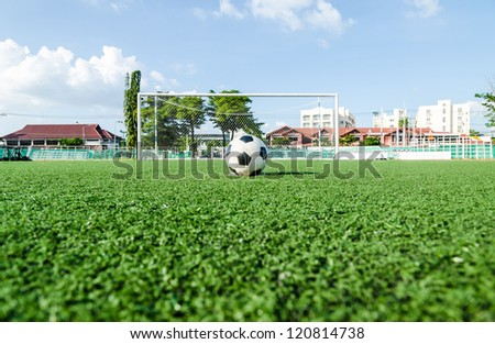 Soccer Football on Penalty spot for Penalty Kick. - stock photo