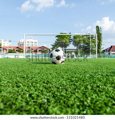 Soccer Football on Penalty spot for Penalty Kick. - stock photo