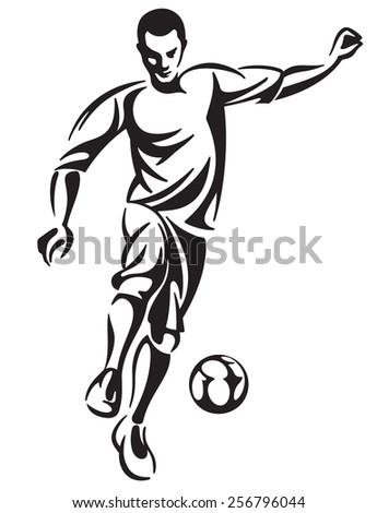 Soccer football player in motion illustration - stock photo