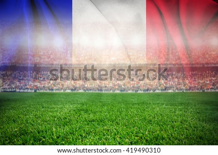 soccer football stadium merge with french flag  - stock photo