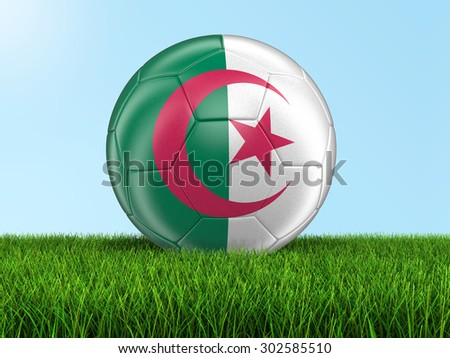 Soccer football with Algerian flag on grass. Image with clipping path - stock photo