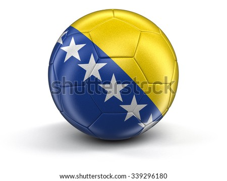 Soccer football with Bosnia and Herzegovina flag. Image with clipping path - stock photo