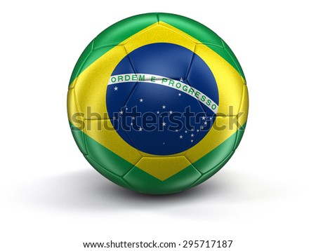 Soccer football with Brazilian flag. Image with clipping path