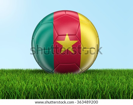 Soccer football with Cameroon flag. Image with clipping path - stock photo