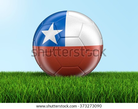 Soccer football with Chilean flag. Image with clipping path - stock photo