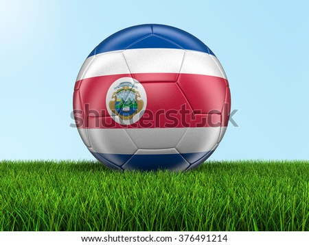 Soccer football with Costa Rican flag. Image with clipping path - stock photo