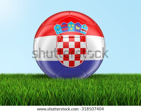 Soccer football with Croatian flag on grass. Image with clipping path - stock photo