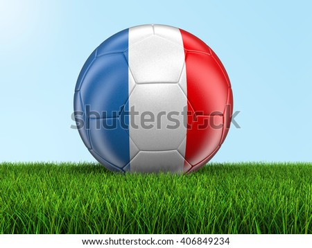 Soccer football with French flag. Image with clipping path - stock photo