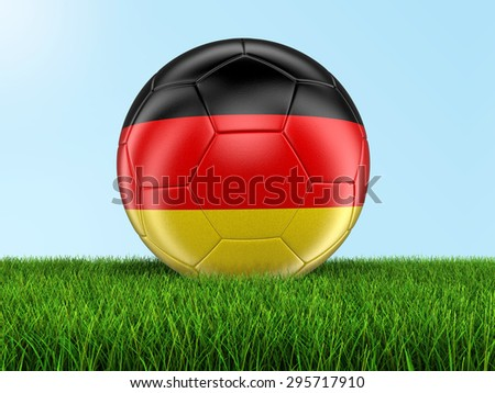 Soccer football with German flag on grass. Image with clipping path - stock photo