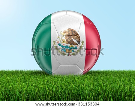 Soccer football with Mexican flag on grass. Image with clipping path - stock photo