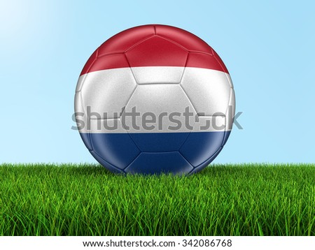 Soccer football with Netherlands flag. Image with clipping path - stock photo
