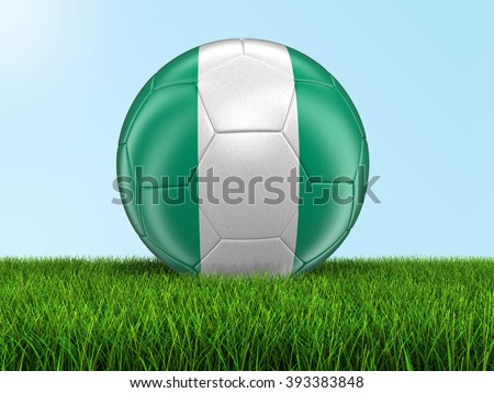 Soccer football with Nigerian flag. Image with clipping path - stock photo