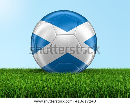 Soccer football with Scottish flag. Image with clipping path - stock photo