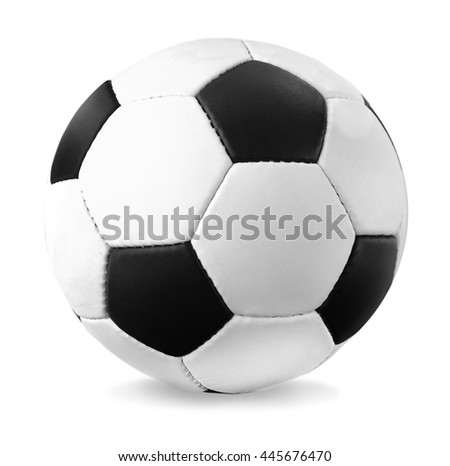 Soccer football with shadow, isolated on white background