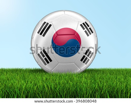 Soccer football with South Korean flag. Image with clipping path - stock photo