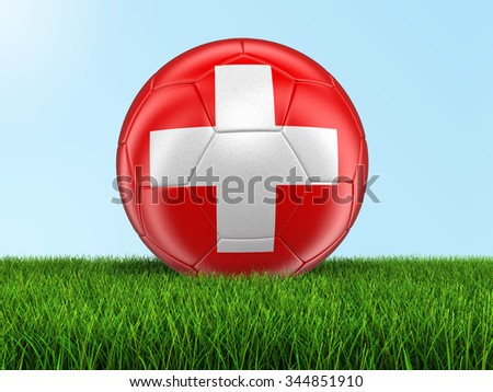 Soccer football with Swiss flag on grass. Image with clipping path - stock photo